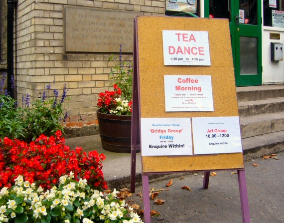 a busy friday at beverley memorial hall, coffee morning, art and bridge groups, plus a tea dance.